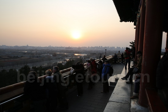 Sunset over Jingshan Hill in the center of Beijing