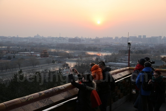 Taking sunset pictures from Jingshan Hill